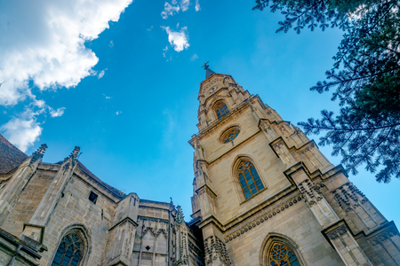 The St. Michaels Church, a Gothic-style Roman Catholic church in Cluj-Napoca. It is the second largest church in the geographical region of Transylvania, Romania