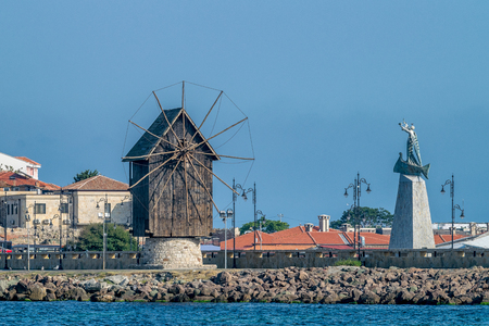 The wooden windmill on the isthmus Nessebar ancient city, one of the major seaside resorts on the Bulgarian Black Sea Coast.