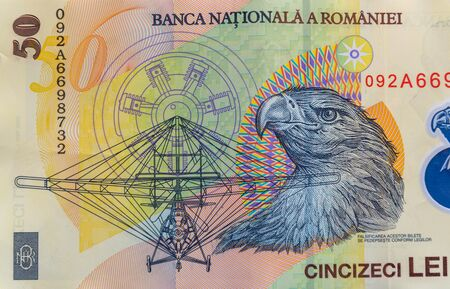 Romanian currency - close up of the 50 RON banknote. Coloseup of RON, Romanian Currency. Romanian RON, Lei Banknotes issued by BNR, National Bank of Romania. Romania Finance and economy concept. Foto de archivo
