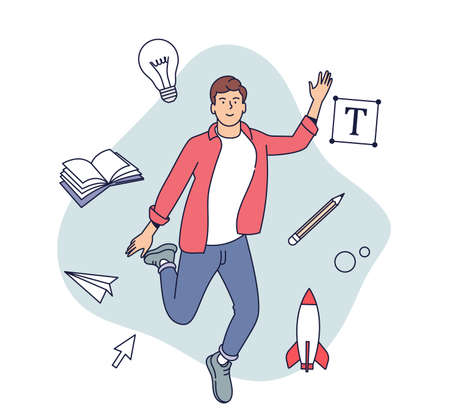 Creative Professions concept. Flat vector illustration. Male designer, illustrator or freelance worker immersed in the creative process.