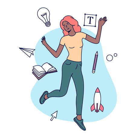 Creative Professions concept. Flat vector illustration. Female designer, illustrator or freelance worker immersed in the creative process.