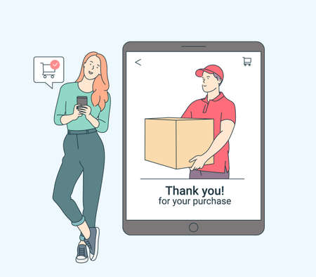 Online payment, technology, shopping, mobile phone concept. Flat vector illustration. Smiling woman with smartphone shopping with contactless electronic paying wireless technology.