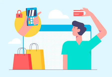 Online mobile shopping concept. Vector illustration in flat style design. Man buying products from bank card and make payment on internet.