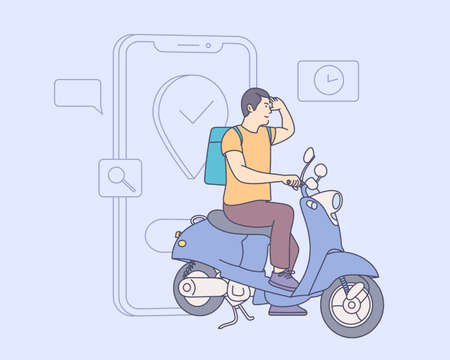 Online delivery service concept. Customers ordering on mobile application, The motorcyclist goes according to the GPS map