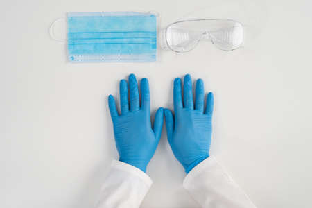 Medical concept of products for the protection of health care workers in hospitals and clinics.