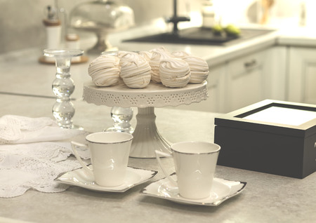 white cup standing on the kitchen table , tea , breakfast,