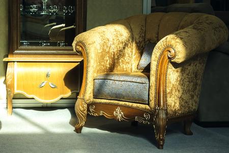 brown velvet armchair in the sun