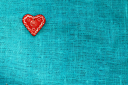 red heart on a turquoise background St. Valentines Day Stock Photo