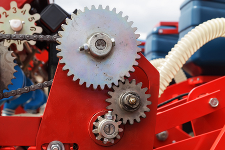 Metal gear wheel mechanical close-up Banque d'images