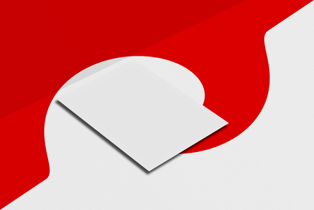 Wedding invitation. White paper card on grey and red background. 3D rendering for your design and template.