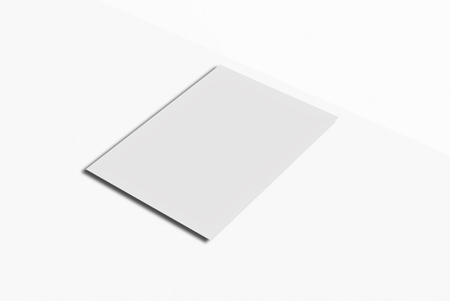 note booklet: White paper card on white background. For your design and template.