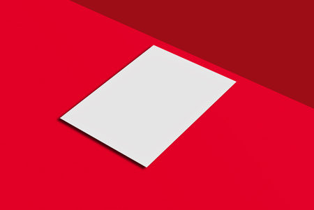 note booklet: White paper card on red background. For your design and template.