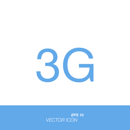 3g: 3G icon in flat style isolated on white background. 3G symbol for your design and logo. Vector illustration EPS 10.