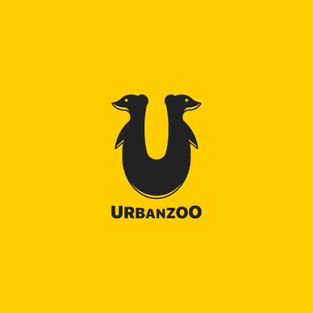 Vector illustration silhouette meerkat. Template for your logo design.