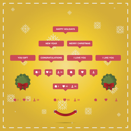 follower: Social and holiday icons Christmas and New Year. Icon like, Icon follower and Icon comment. Illustration