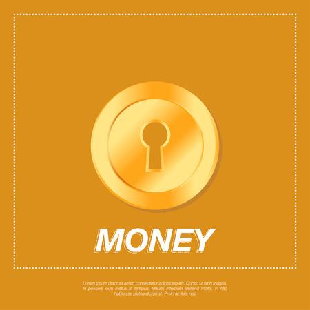 golden coins: Golden coins on orange background. Flat vector illustration EPS10