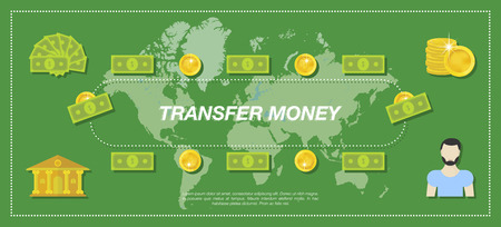 banco mundial: Transfer Money. Bank, money, people and world map in the green background. Flat vector illustration EPS10
