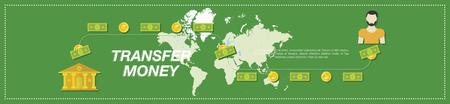 banco mundial: Transferir dinero. Dinero, el Banco, la gente y el mapa del mundo en el fondo verde. ilustración vectorial de EPS10 plana
