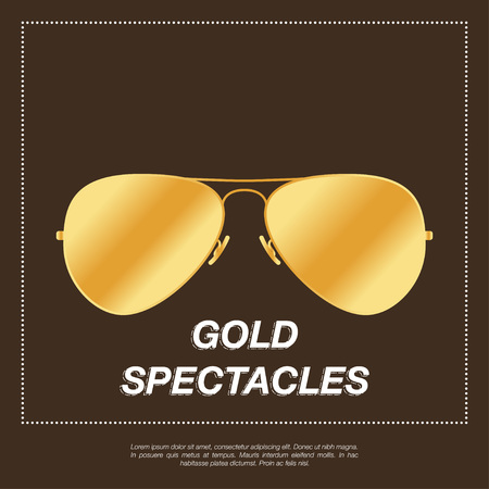 rimmed: Gold aviator sunglasses with gold frame. Vector illustration EPS10 Illustration
