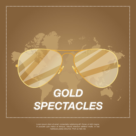 eyewear fashion: Gold aviator sunglasses with gold frame. Sun glasses with transparent gradient lenses.vector illustration EPS10 Illustration