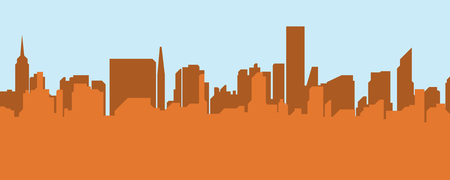 tower tall: The silhouette city. The flat vector illustration. Illustration