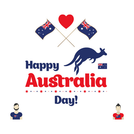 memory card: Happy Australia day. Map of Australia with flag and kangaroo. Flat vector illustration.