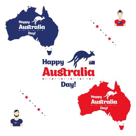 Happy Australia day. Map of Australia with flag and kangaroo. Flat vector illustration. Vector Illustration
