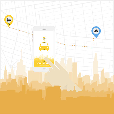smartphone hand: Online Taxi and smartphone in the hand.