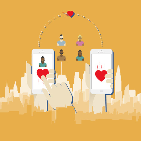 Mobile phone in hand on the background of urban buildings. Illustration