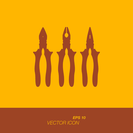 Silhouette tools, pliers icon in flat style. The icons on the theme of building tools. Vector illustration EPS 10.