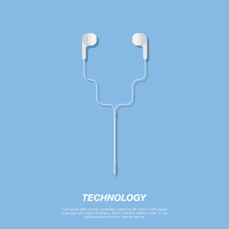 Vector headphones icon on blue background. Flat vector illustration EPS 10.