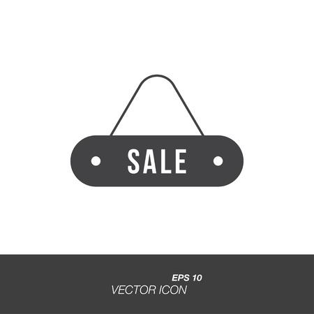 Plaat verkoop pictogram in vlakke stijl geïsoleerd op een witte achtergrond. Bordsymbool voor uw ontwerp en logo. Stock Illustratie