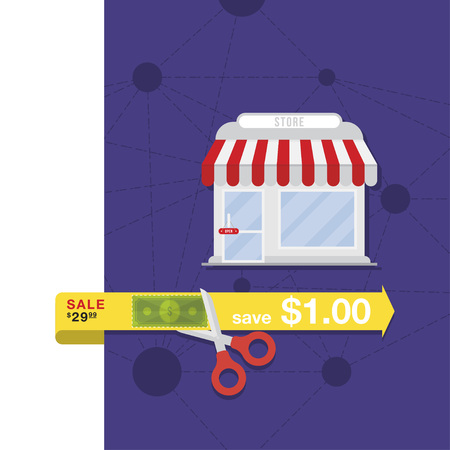 Store buildin icon in flat style. Vector illustrations on the theme of shopping.