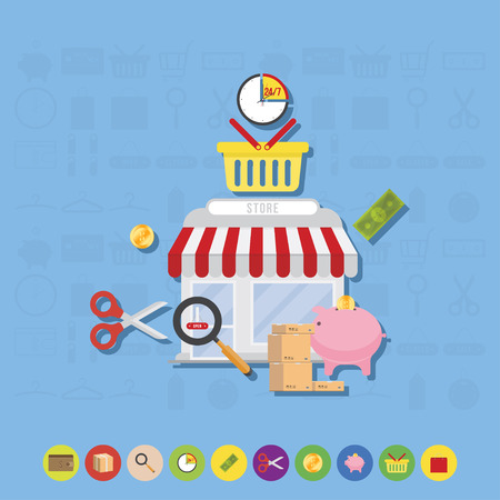 Store and icons flat vector illustrations on the theme of shopping. Illustration