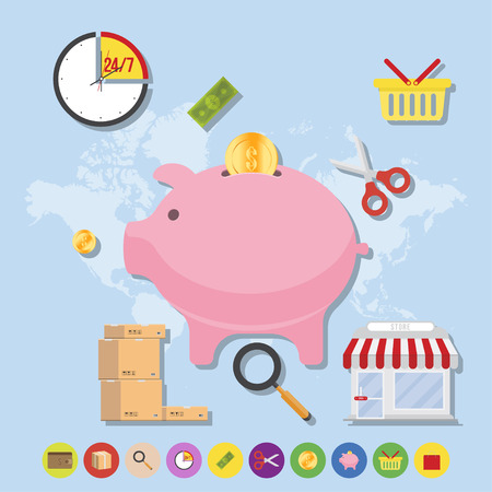 Store and icons on world map background. Flat vector illustrations on the theme of shopping. Illustration