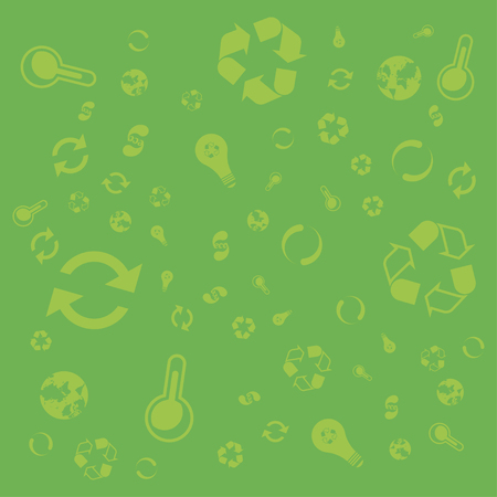 Pattern green icons of ecology. Set of icons on the background.