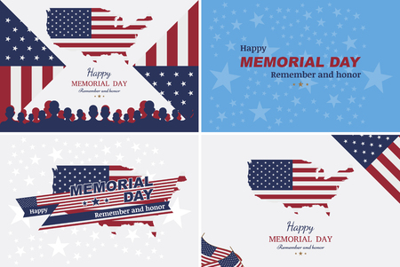 Set happy memorial day. Greeting cards with flag on background. National American holiday event Illustration