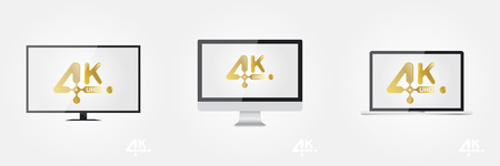 open notebook: 4K Ultra HD golden vector icon on the TV, monitor and laptop. Flat vector illustration EPS10