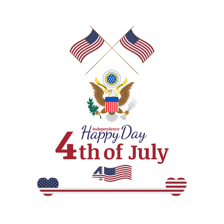 congratulatory: Celebrate Happy 4th of July - Independence Day. Congratulatory banner with the coat of arms and a combination of fonts. Flat vector illustration EPS 10. Illustration