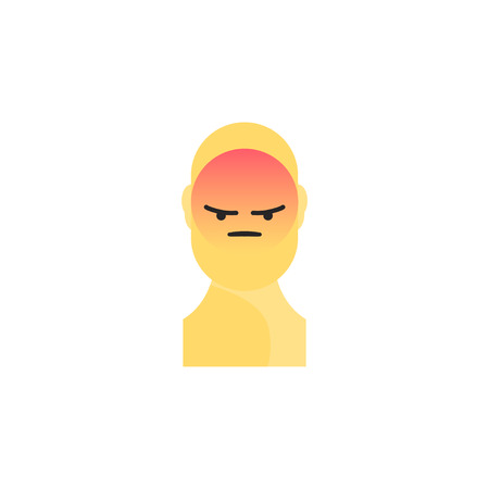 Angry yellow smiley. Like social icon. Button for expressing social emoji. Flat vector illustration EPS 10. Illustration