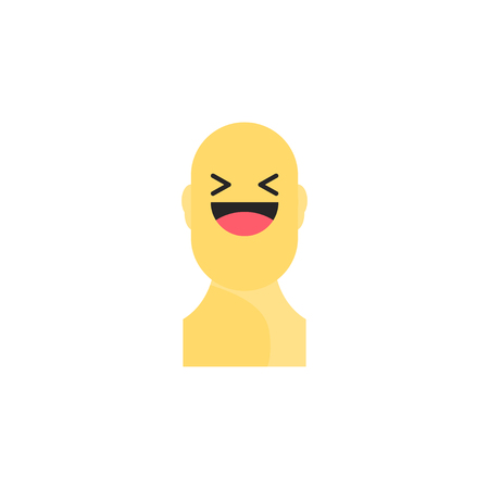 Laughing yellow smiley in body. Like social icon. Button for expressing social emoji. Flat illustration EPS 10. Illustration
