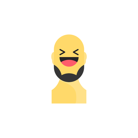 Laughing yellow smiley with beard. Like social icon. Button for expressing social emoji. Flat  illustration EPS 10. Illustration