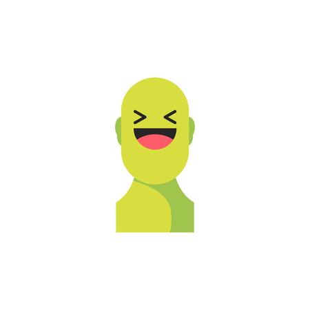 웃는 녹색 웃음. 소셜 아이콘처럼. 사회적 이모티콘 표현을위한 버튼. 플랫 벡터 일러스트 레이 션 EPS 10.