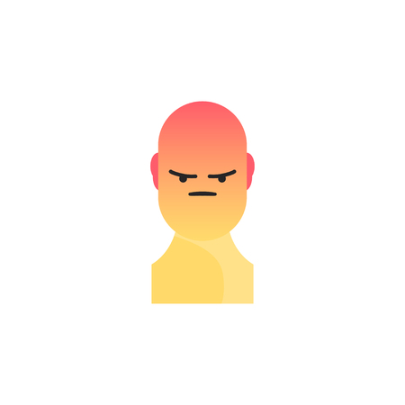 sullen: Angry yellow smiley. Like social icon. Button for expressing social emoji. Flat vector illustration EPS 10. Illustration