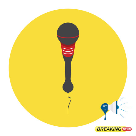 Flat illustration of the microphone and loudspeaker for the breaking news.