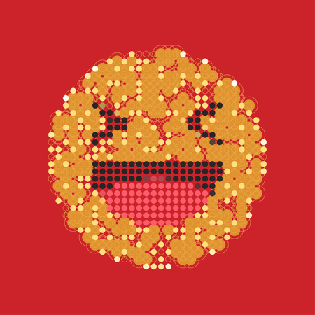 Laughing yellow smiley in dots. Like social icon. Button for expressing social emoji. Flat vector illustration EPS 10.