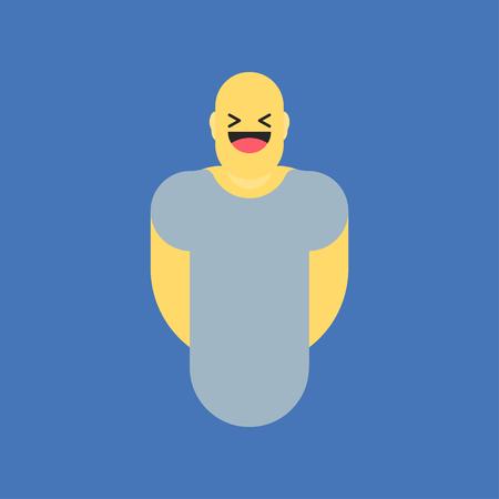 시체에서 웃는 노란 웃는. 소셜 아이콘처럼. 사회적 이모티콘 표현을위한 버튼. 플랫 벡터 일러스트 레이 션 EPS 10입니다. 스톡 콘텐츠 - 80328736