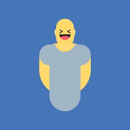 Laughing yellow smiley in body. Like social icon. Button for expressing social emoji. Flat vector illustration EPS 10.