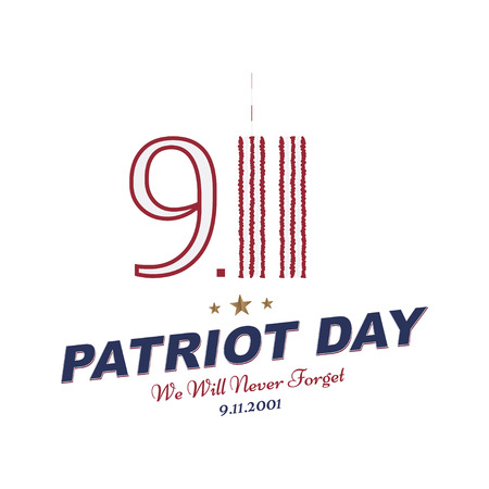 Patriot Day september 11. 2001 We will never forget. Typography with the twins tower on a white background. Vector font combination to the day of memory of the American people. Flat element EPS 10
