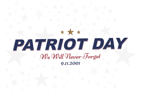 We will never forget. Patriot Day september 11. 2001 Typography on a white background. Vector font combination to the day of memory of the American people. Flat element EPS 10 Çizim